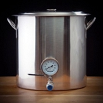 Brewing Kettle with Valve and Thermometer 32 quart