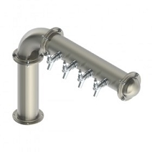 BrewXpipe Elbow Tower – 4 Faucets – Brushed Stainless – Glyco Cold Technology