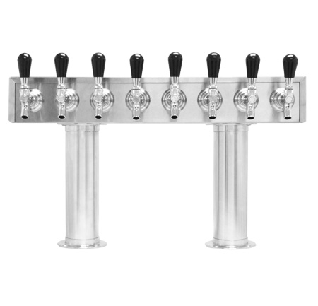 Beer Tower 8 FAUCET - Pass Thru 3 inch PEDESTAL - Glycol